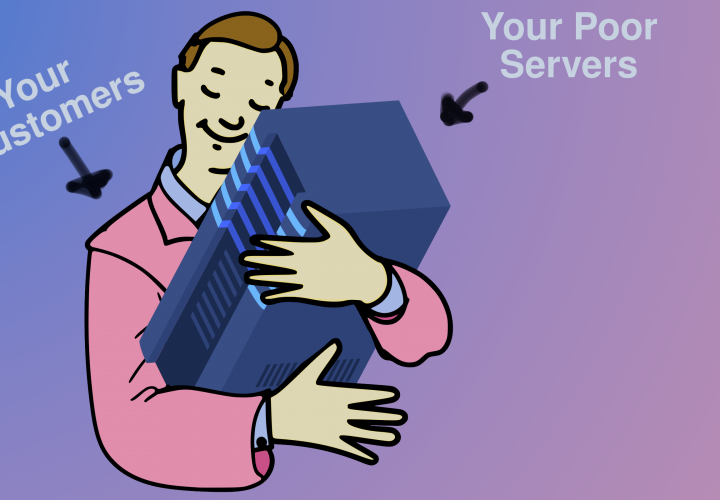 Customers mercilessly hug your application to death. Colorized. Circa 2021